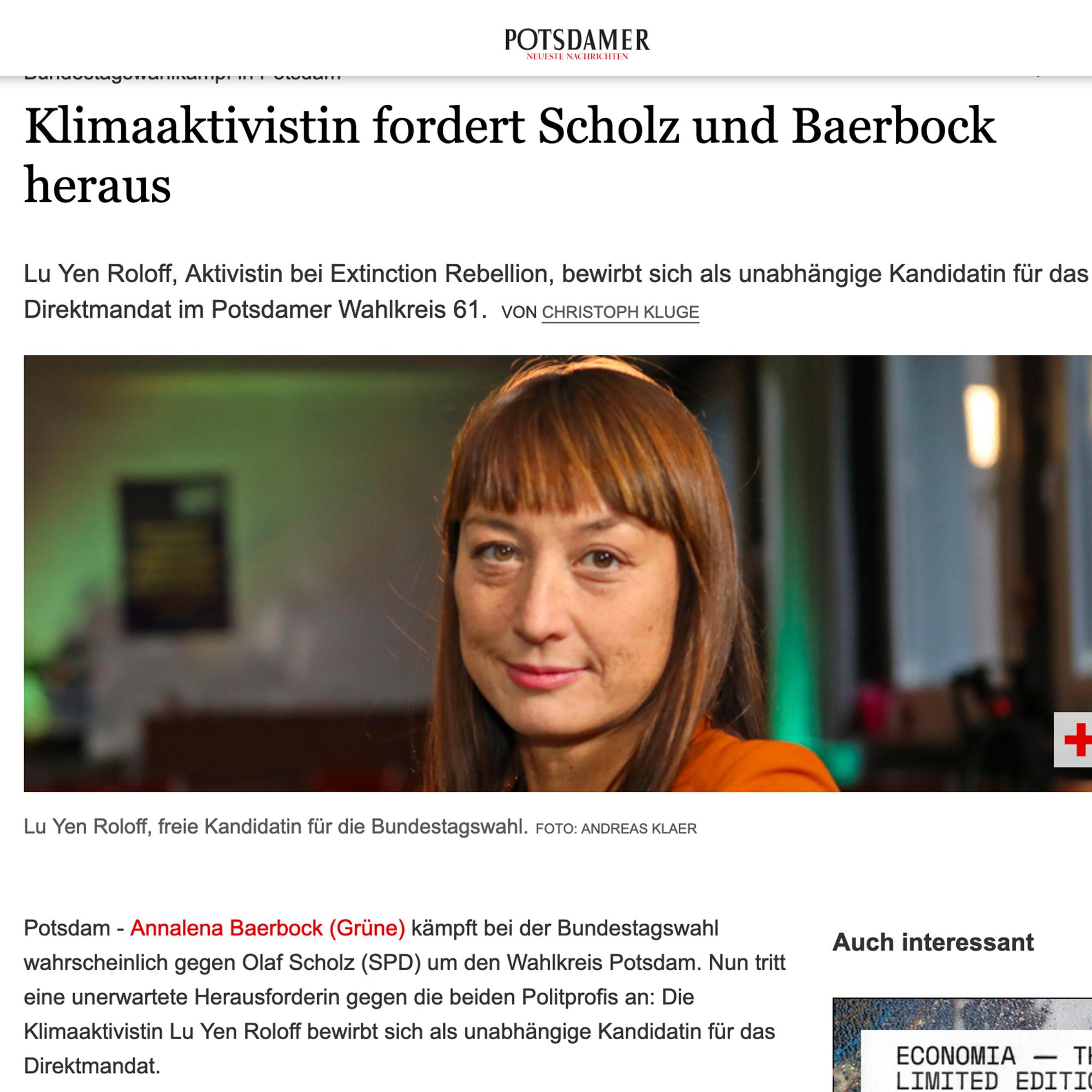 Zeitungsartikel Potsdamer Neueste Nachrichten